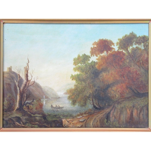 156 - 19TH CENTURY LANDSCAPE SCENE WITH TREES IN THE FOREGROUND, A BOAT ON THE WATER, HILLS AND A FOLLY, O...