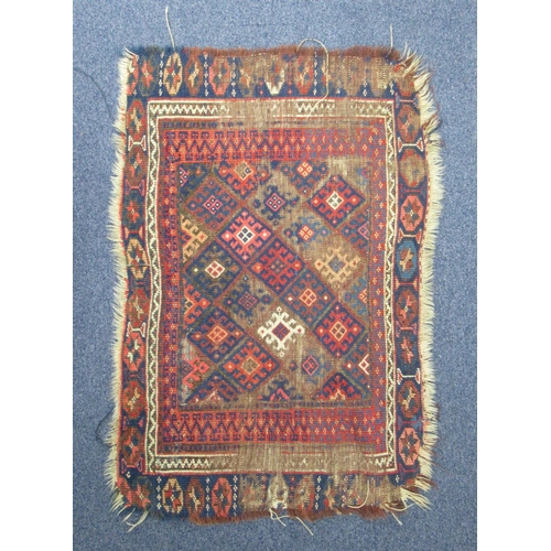 162 - THREE SECTIONS OF A PERSIAN INDIGO FIELD CARPET, THE LARGEST 143 X 89 CM AND A PERSIAN RUG WITH ALL ...