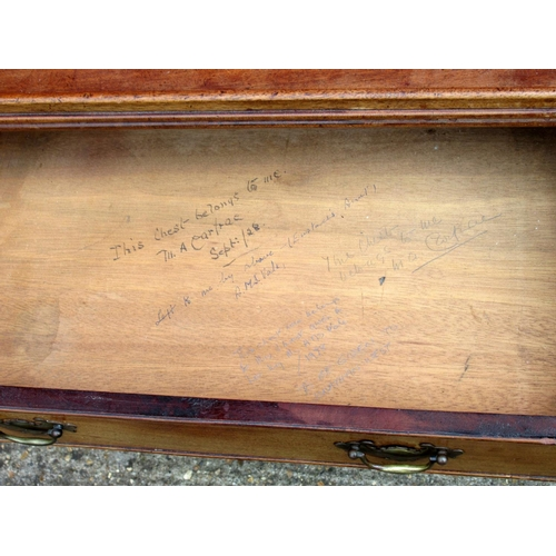 165 - GEORGIAN STYLE MAHOGANY CHEST WITH A GALLERIED TOP AND FOUR GRADUATED LONG DRAWERS ON BRACKET FEET (...