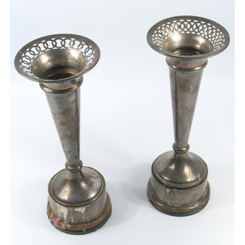 166 - MATCHED PAIR OF SILVER TAPERING CYLINDRICAL VASES, EACH WITH A PIERCED RIM, LONDON, 1926 AND BIRMING...