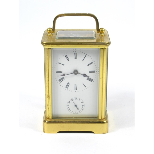 169 - CARRIAGE CLOCK WITH A WHITE ENAMELLED DIAL ENCLOSING AN EIGHT DAY ALARM MOVEMENT STRIKING ON A BELL,...