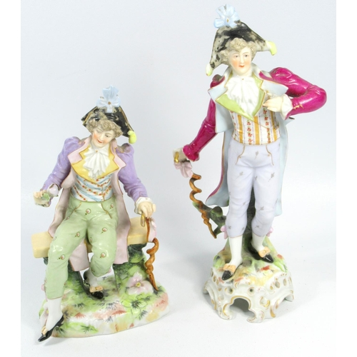 178 - PAIR OF COBURG PORCELAIN FIGURES, TWO OTHER PAIRS OF FIGURES, WILKINSON KINGFISHER (H.18 CM), TWO FL...