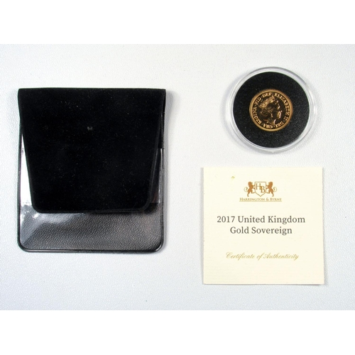 18 - GOLD ELIZABETH II HARRINGTON & BYRNE SOVEREIGN, 2017, UNC, WITH C OF A, IN CAPSULE AND WALLET....