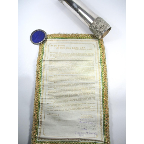 184 - LATE VICTORIAN INDIAN SILVER PRESENTATION SCROLL CASE WITH APPLIED SCROLLING FLORAL DECORATION TOWAR...