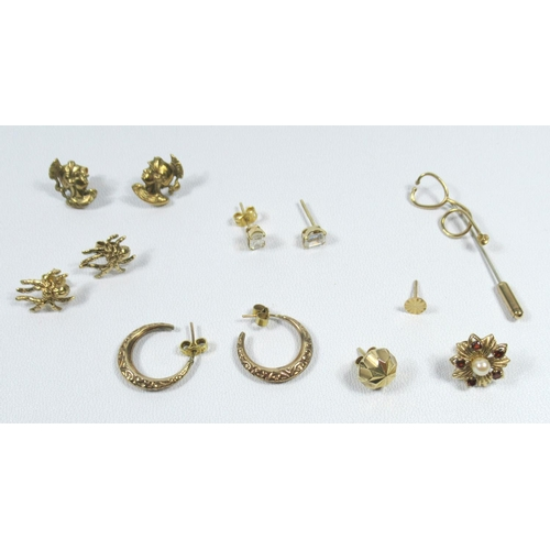 189 - FOUR PAIRS OF 9CT GOLD EARRINGS, THREE ODD STUDS AND A STICKPIN, ETC., GROSS WEIGHT 12.9 GRAMS....