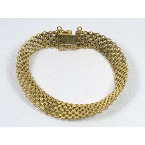 191 - SPANISH YELLOW METAL MILANESE STYLE BRACELET BY L K STAMPED 18K, 21.4 GRAMS....
