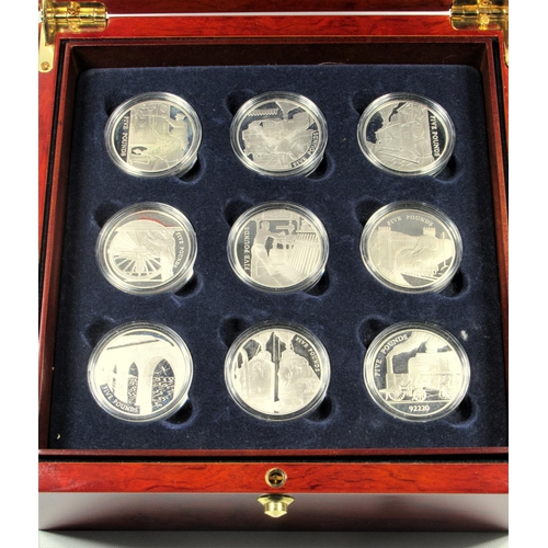 20 - ROYAL MINT SILVER PROOF SET OF CHANNEL ISLANDS ELIZABETH II GOLDEN AGE OF STEAM £5 COINS, 2004, (18)...