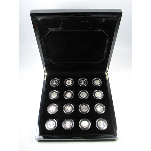 21 - SILVER PROOF SET OF ELIZABETH II 40TH ANNIVERSARY 50 PENCE COINS, (1969-2009), (16) No. 1348, WITH C...