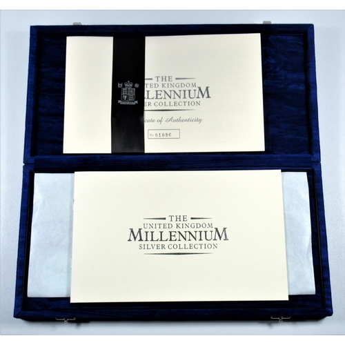 23 - SILVER PROOF SET OF ELIZABETH II MILLENIUM COLLECTION COINS, £5's TO 5 PENCE, INCLUDING MAUNDY COINS...