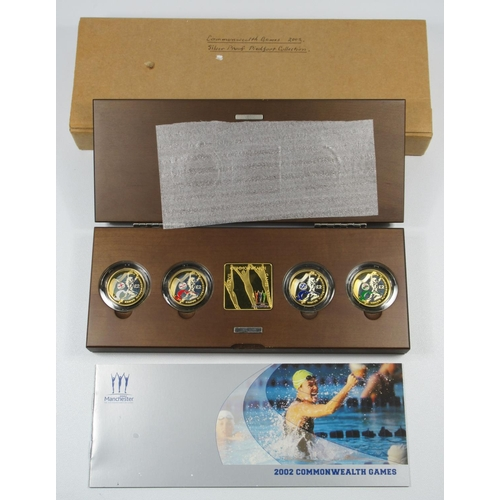 24 - SILVER PIEDFORT PROOF SET OF ELIZABETH II COMMONWEALTH GAMES £2 COINS, 2002, WITH PLAQUE (4) WITH C ...