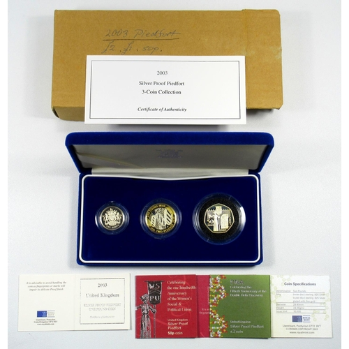 25 - SILVER PIEDFORT PROOF SET OF ELIZABETH II COINS, £2-50p, 2003, (3) WITH C OF A AND BOOKLETS, CASED &...