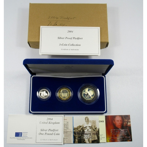 27 - SILVER PIEDFORT PROOF SET OF ELIZABETH II COINS, £2 TO 50 PENCE 2004, (3) WITH C OF A AND BOOKLETS, ...