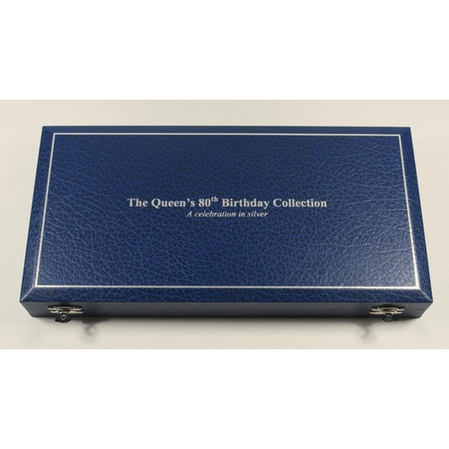 29 - SILVER PROOF SET OF ELIZABETH II QUEEN'S 80TH BIRTHDAY COLLECTION OF COINS, £5 TO 5 PENCE INCLUDING ...