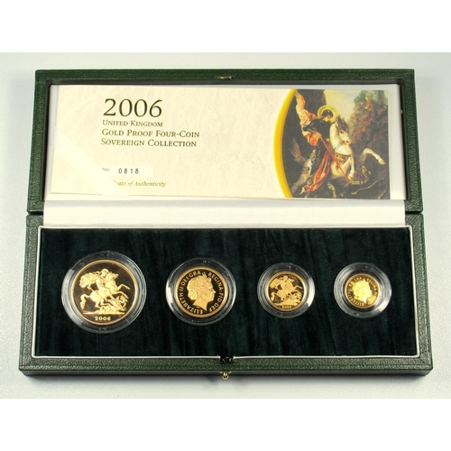 3 - GOLD PROOF SET OF ELIZABETH II COINS, £5 - HALF-SOVEREIGN, 2006 (4) No. 0818, WITH C OF A, CASED....