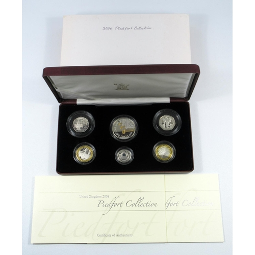 30 - SILVER PROOF PIEDFORT SET OF ELIZABETH II COINS, £5 TO 5 PENCE, 2006, WITH C OF A, AND BOOKLET CASED...