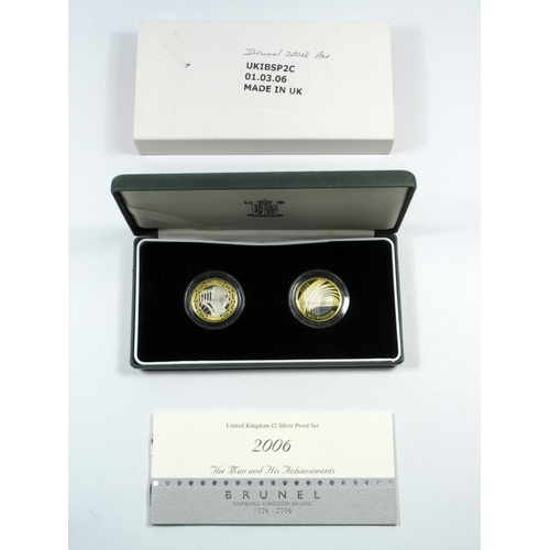 31 - SILVER PROOF SET OF ELIZABETH II 'MAN AND HIS ACHIEVEMENTS - BRUNEL', £2 COINS, 2006, (2) WITH C OF ...