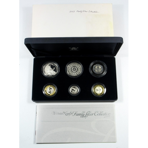 32 - SILVER PROOF SET OF ELIZABETH II 'FAMILY SILVER COLLECTION' COINS £5 TO 50 PENCE, 2007, (6) WITH C O...