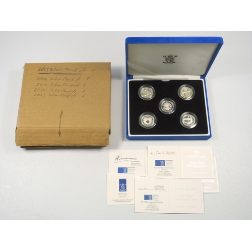 34 - SILVER PROOF SET OF ELIZABETH II £1 COINS, 2003-07, 2007, (5) WITH C OF A, CASED AND BOXED....