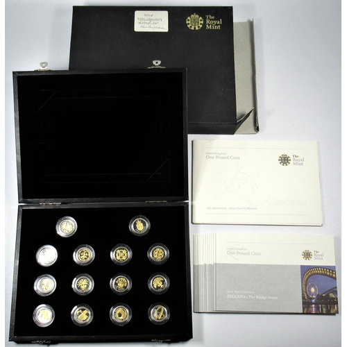 35 - SILVER PROOF SET OF ELIZABETH II 25TH ANNIVERSARY £1 COINS, 2008, (14) WITH C OF A, AND CARDS, CASED...