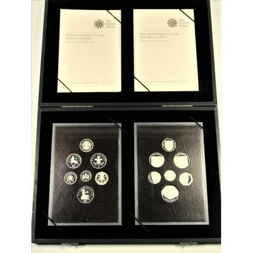 36 - SILVER PROOF SETS OF ELIZABETH II COINS, 'EMBLEMS OF BRITAIN', £1 - 5 PENCE, (7) No. 2943, 'ROYAL SH...