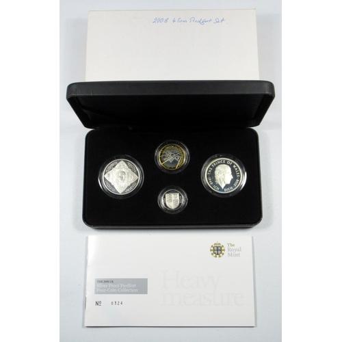 37 - SILVER PIEDFORT PROOF SET OF ELIZABETH II 'HEAVY MEASURE' COINS, £5, (2), £2 AND £1, 2008, (4) No.03...