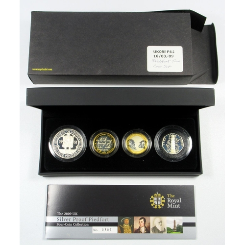 38 - SILVER PROOF PIEDFORT SET OF ELIZABETH II COINS, £5 TO 50 PENCE, 2009,(4) WITH C OF A, CASED AND BOX...