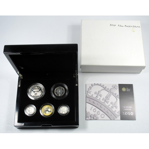 39 - SILVER PIEDFORT PROOF SET OF ELIZABETH II COINS, £5 - 50 PENCE, 2010, (5) WITH C OF A, CASED AND BOX...