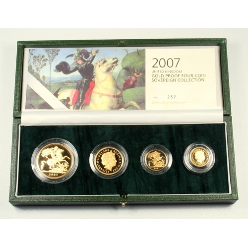 4 - GOLD PROOF SET OF ELIZABETH II COINS, £5 - HALF-SOVEREIGN, 2007 (4) No. 257, WITH C OF A, CASED AND ...