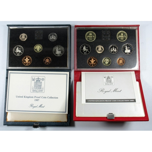45 - EIGHT PROOF SETS OF COINS, 1984 - 85, 1987, 1989, 1994 - 95, 1998 - 99, WITH CARDS, CASED (8)....