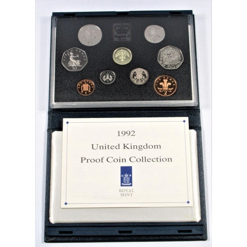 46 - PROOF SET OF COINS, £1 - 1 PENCE INCLUDING THE E.C. 50 PENCE, 1992 (9), WITH CARD, CASED. (9)...