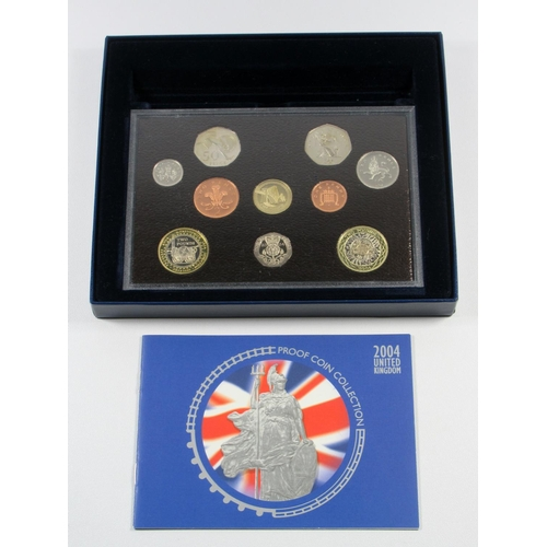 47 - FIVE PROOF SETS OF COINS, 2001, £5 - 1 PENCE, No. 7170, WITH C OF A, 2002 - 2005, WITH C OF A'S, CAS...