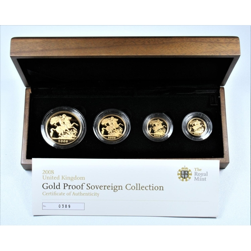 5 - GOLD PROOF SET OF ELIZABETH II COINS, £5 - HALF-SOVEREIGN, 2008 (4) No. 0389, WITH C OF A, CASED AND...