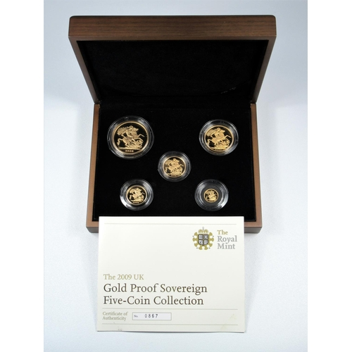 6 - GOLD PROOF SET OF ELIZABETH II COINS, £5 - QUARTER SOVEREIGN, 2009 (5) No. 0867, WITH C OF A, CASED ...