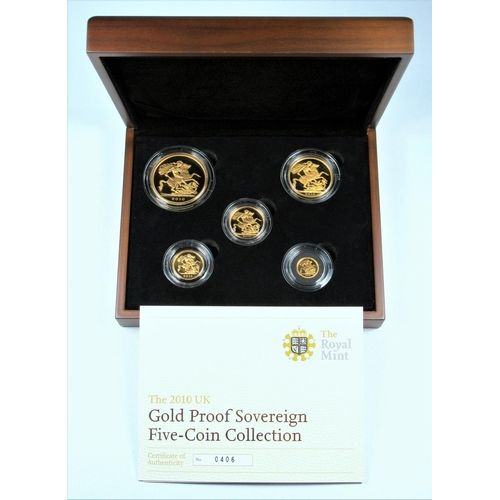 7 - GOLD PROOF SET OF ELIZABETH II COINS, £5 - QUARTER SOVEREIGN, 2010 (5) No. 0406, WITH C OF A, CASED ...