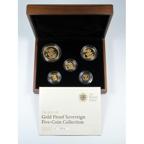 8 - GOLD PROOF SET OF ELIZABETH II COINS, £5 - QUARTER SOVEREIGN, 2011 (5) No. 0867, WITH C OF A, CASED ...
