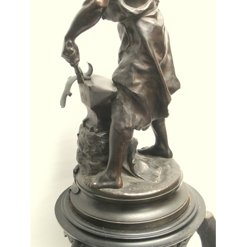 163 - ADRIEN ETIENNE GAUDEZ (FRENCH 1845-1902); 'FORGERON',(THE BLACKSMITH) PATINATED BRONZE SCULPTURE, SI...
