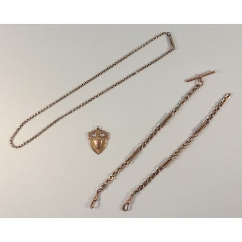 27 - 9 CT GOLD BELCHER LINK NECKLACE, 9 CT SHIELD FOB, 16 GRAMS, AND A GILT METAL FANCY DOUBLE ALBERT (3)...