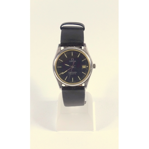 287 - OMEGA GENTLEMAN'S SEAMASTER STAINLESS STEEL WRISTWATCH WITH A BLACK CIRCULAR DIAL, BATON MARKERS, SW...
