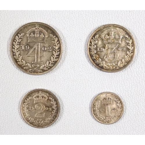 8 - EDWARD VII MAUNDY SET, 4d - 1d, 1902, E. F. LUSTRE.(4)...