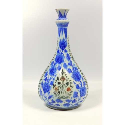 155 - ANTIQUE PERSIAN TIN GLAZED BOTTLE SHAPED VASE WITH PAINTED BLUE AND RED FLORAL DECORATION, A TAPERIN...