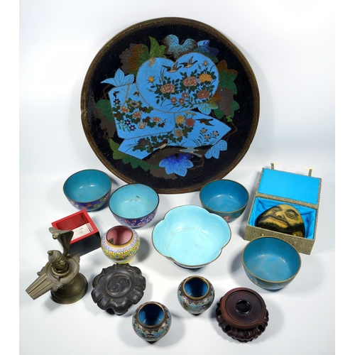 149 - JAPANESE CLOISONNE SAUCERDISH WITH FLORAL DECORATION ON A BLUE AND BLACK GROUND, MEIJI PERIOD (DIA. ...
