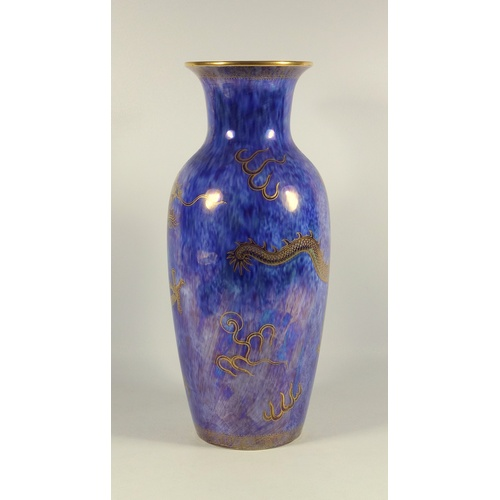 231 - A WEDGWOOD 'DRAGON' LUSTRE BONE CHINA  BALUSTER VASE PRINTED AND PAINTED IN GILT AND COLOURED ENAMEL...