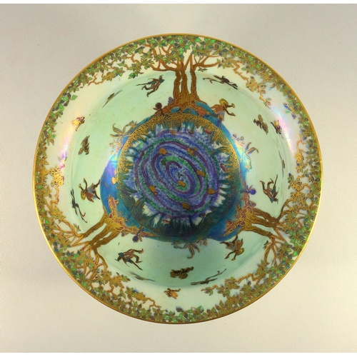 230 - A WEDGWOOD FAIRYLAND LUSTRE 'KANG HSI' BONE CHINA SHAPE BOWL, C. 1925 DESIGNED BY DAISY MAKEIG-JONES...