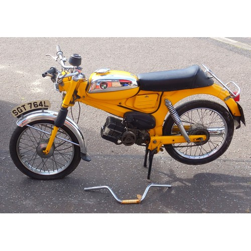 309 - A RARE PUCH VZ 50CC DAKOTA MOTORCYCLE/MOPED.  MILEAGE READING 3,150; WITH LAST TAX DISC FOR 1974, NO...