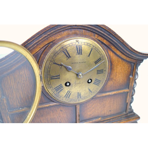 40 - GEORGE V MANTEL TIMEPIECE WITH A GILT CIRCULAR DIAL INSCRIBED ' MAPPIN & WEBB, LONDON' ENCLOSING A F...