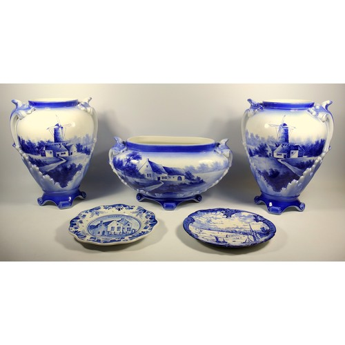 229 - PAIR OF NIMY, BELGIUM, EARTHENWARE BLUE AND WHITE BALUSTER VASES, EACH WITH A WINDMILL AND BUILDING,...