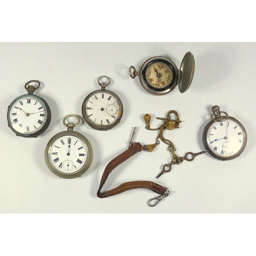 42 - VICTORIAN POCKET WATCH WITH A CIRCULAR WHITE ENAMELLED DIAL AND SECONDS DIAL ENCLOSING A KEYWIND MOV...