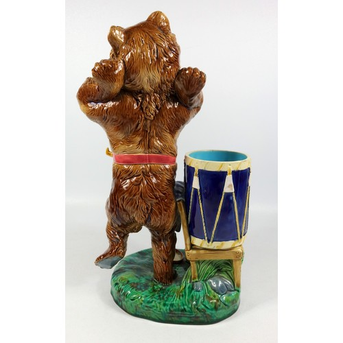 244 - RARE MINTON MAJOLICA MODEL OF A BROWN GLAZED DANCING BEAR, A BLUE DRUM WITH CYMBALS ON A CHAIR BY HI...