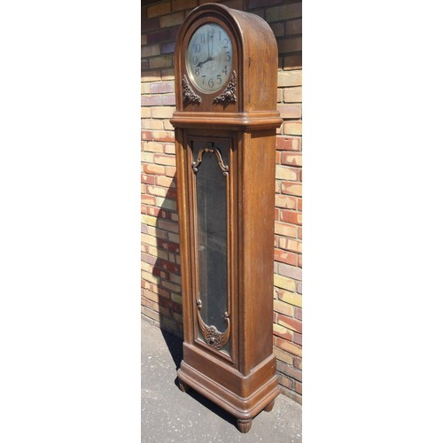 44 - 1930'S GERMAN LONGCASE CLOCK WITH A SILVERED DIAL ENCLOSING AN ISGUS QUARTER CHIMING MOVEMENT STRIKI...