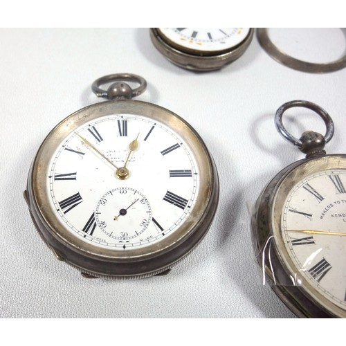 38 - 19TH CENTURY SILVER SWISS OPEN FACED POCKET WATCH WITH A WHITE ENAMELLED DIAL INSCRIBED, 'MAKERS TO ...
